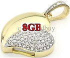 8GB Jewel Heart Shape Rhinestone Necklace Flash Drive