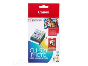 Genuine Canon CLI-521 GY/Y/C/M Genuine Ink Value Pack- 4 Pack